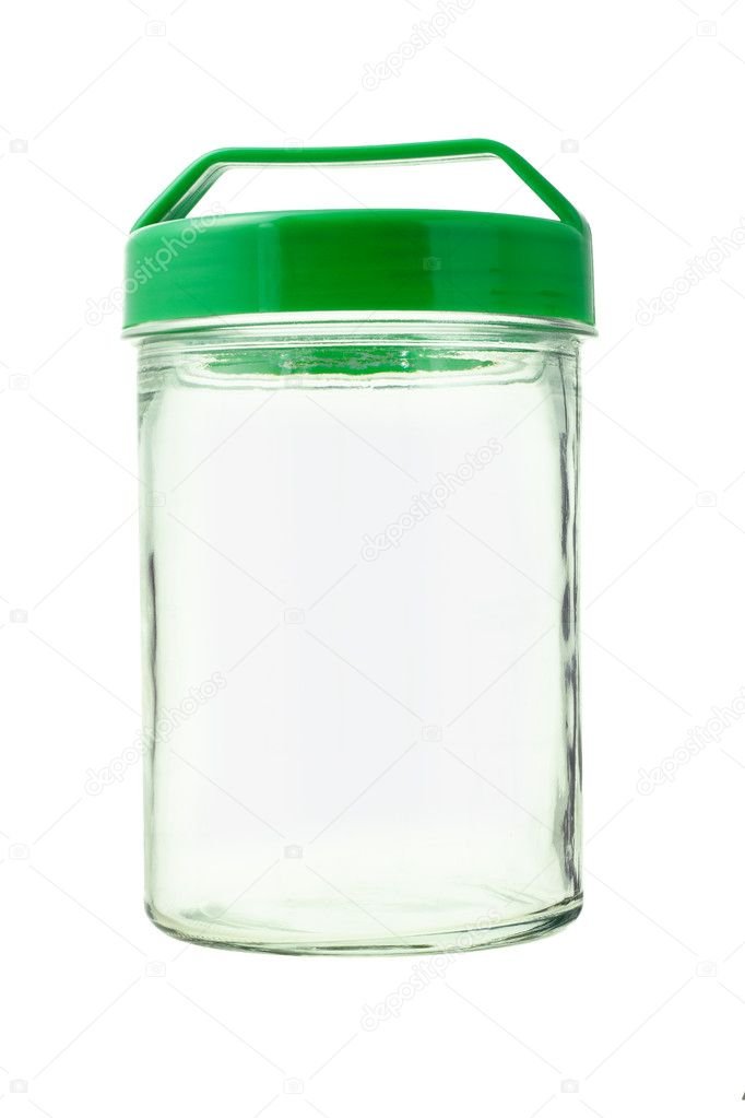 Empty glass jar with green plastic lid on white background — Stock Photo #6588021