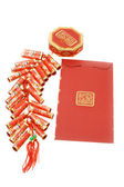 Chinese red packet and fire crackers ornament — Stock Photo