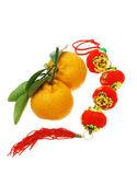 Mandarin oranges and Chinese new year latern — Stock Photo