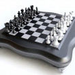 Stock Photo: 3D Chess Set in Black and White