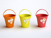 Funny colorful buckets — Stock Photo