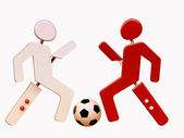 Soccer players in 3D — Stock Photo