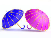 Blue and Violet Umbrellas — Stock Photo