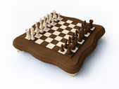 3D Wooden Chess — Stock Photo