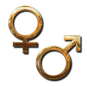 Golden male and female symbols — Stock Photo