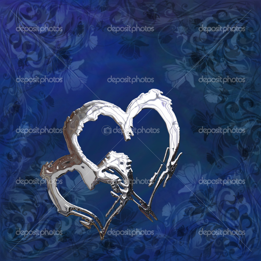 St Valentine illustration with two silver chrome hearts on the blue background with floral pattern  Stock Photo #6095249