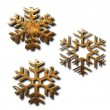 Golden snowflakes - Stock Photo
