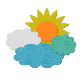 Felt sun and clouds illustration — Stock Photo