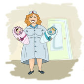 Nurse with two newborn babies — Stock Photo