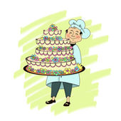 Pastry chef with huge cake — Stock Photo