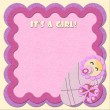 """It's a girl!"" greeting card - Stock Photo"