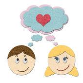 мальчик и девочка мечтает о любви — Стоковое фото