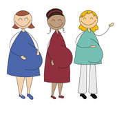 Illustration of three pregnant young women — Foto Stock