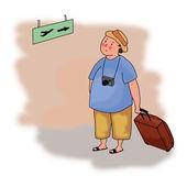 Ilustração de um turista no aeroporto — Foto Stock