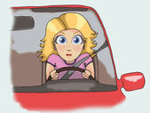 Blonde girl driving — Foto Stock