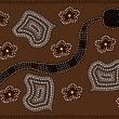 Illustration based on aboriginal style of dot painting depicting snake - Stock Vector