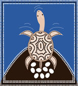 Illustration based on aboriginal style of dot painting depicting longneck turtle — Stock Vector