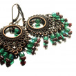 Stock Photo: Handmade earrings with gemstones, gypsi style