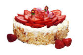 Strawberry almond birthday cake with four childish candles, isol — Stock Photo
