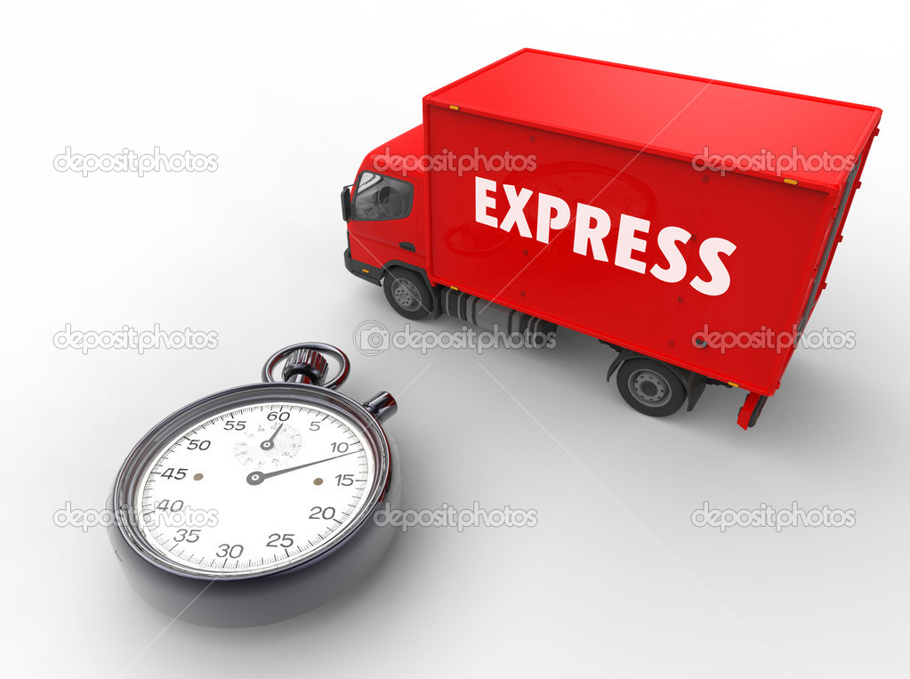3d illustration of express delivery with van and stopwatch — Stock Photo #6076215