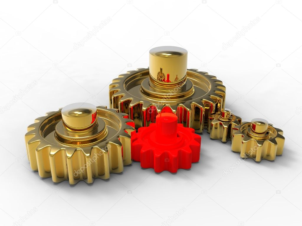3d illustration of golden and red gears on white background — Stock Photo #6076287