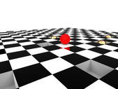 Red ball on checkerboard — Stock Photo