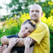 Bald-headed man embraced a girl — Stock Photo