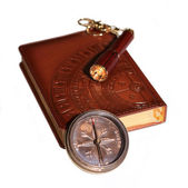 Notebook, flashlight and compass on white background — Stock Photo