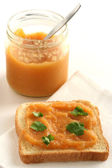 Toasts with vegetable paste — Stock Photo