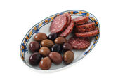 Sausages and olives — Stok fotoğraf