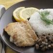 Stock Photo: Fried fish with boiled rice