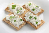 Toasts with cheese and parsley — Stock Photo