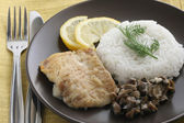 Smażona ryba z ryżem gotowane — Zdjęcie stockowe