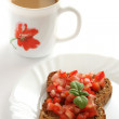 Toast with cut tomato and coffee — Stock Photo