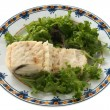 Boiled codfish with salad — Stock Photo #6292459