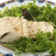 Stock Photo: Boiled codfish with salad