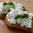 Toasts with cottage cheese — Stock Photo