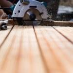 Building a patio — Stock Photo