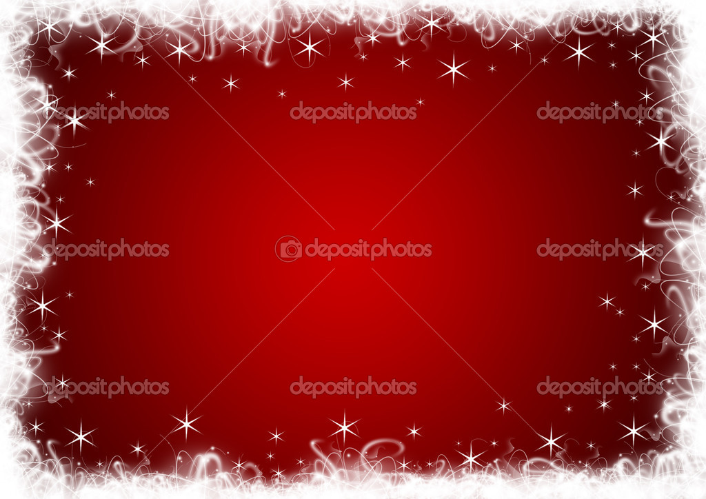 Red Christmas background with white stars and sparkles — Stock Photo #6085350