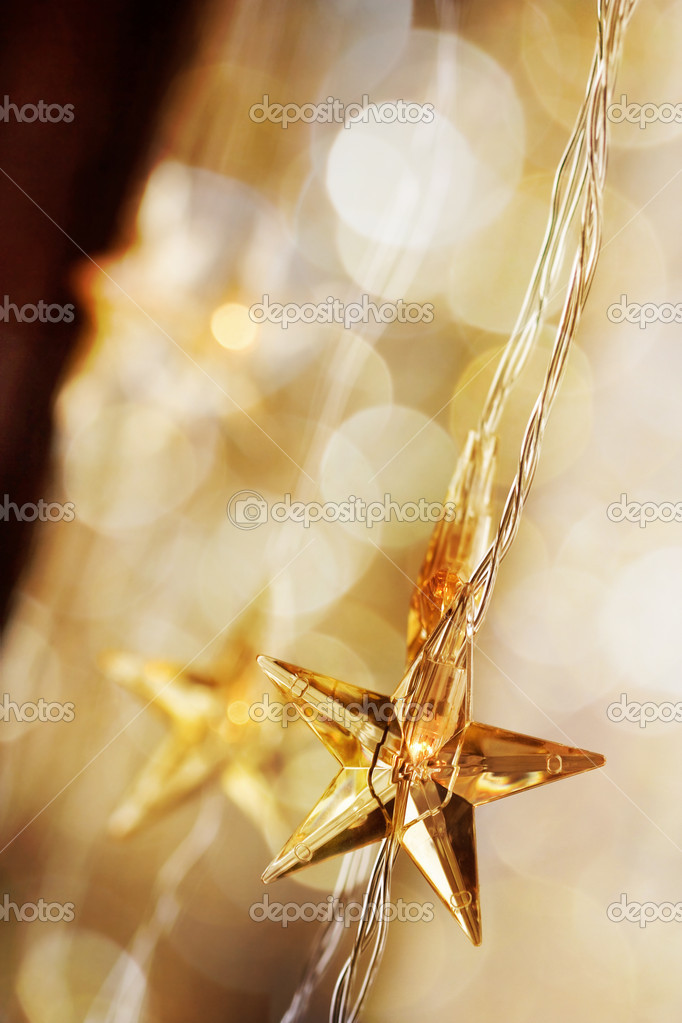 Golden Christmas stars with very shallow focus  Stock Photo #6085456
