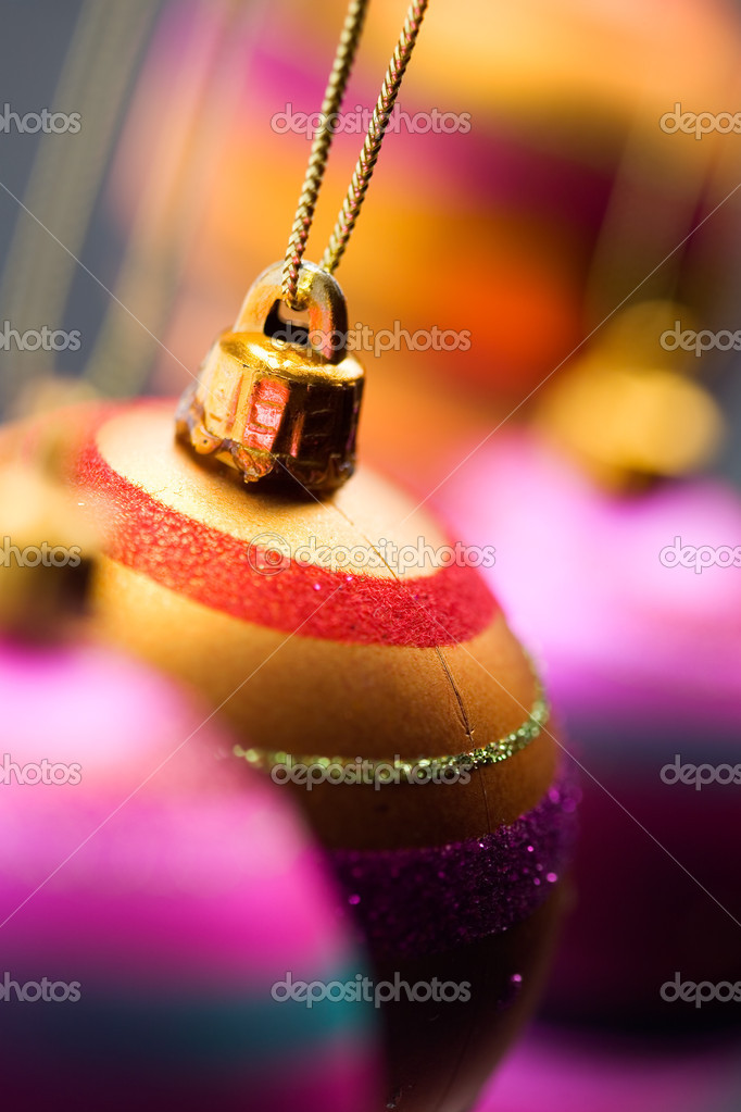 Bright and colorful christmas ornaments hanging  Stock Photo #6085746