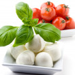 Mozzarella, tomatoes and basil - Stock Photo
