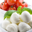 Mozzarella, tomatoes and basil — Stock Photo #6109558