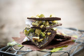 Chocolate with pistacios — Stock Photo