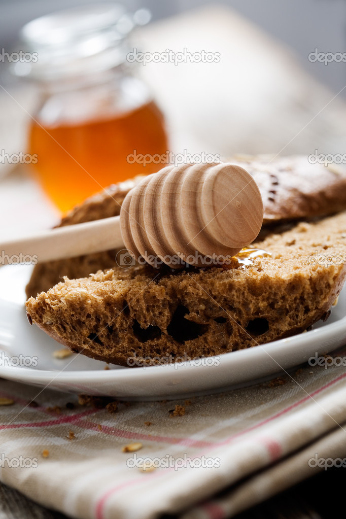 Fresh homemade bread on wooden table, selective focus — Foto Stock #6109694