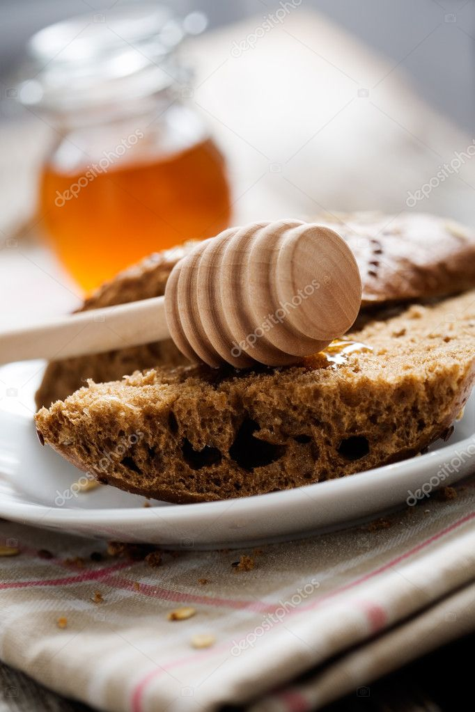 Fresh homemade bread on wooden table, selective focus — 图库照片 #6109694