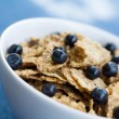Breakfast cereal with blueberries — Stock Photo