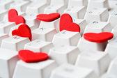 Hearts on keyboard — Stock Photo