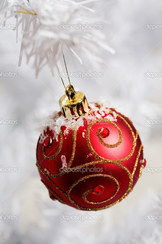 Red christmas decorations on white christmas tree  Stock Photo #6287227