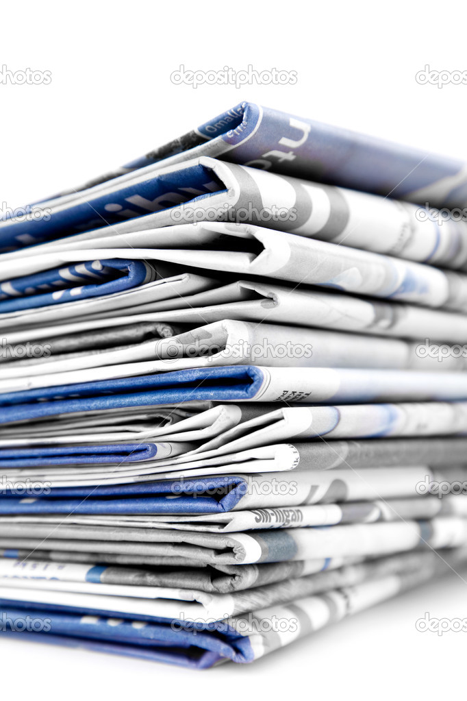 Stack of newspapers on white background — Stock Photo #6287356